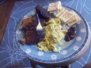 tuna patties and scrambled eggs